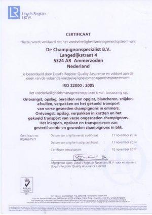 certificaat ISO22000